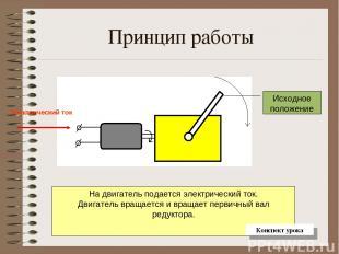 Принцип работы На двигатель подается электрический ток. Двигатель вращается и вр