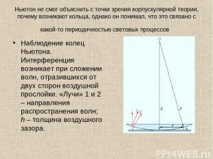 Ньютон не смог объяснить с точки зрения корпускулярной теории, почему возникают