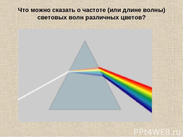 Что можно сказать о частоте (или длине волны) световых волн различных цветов?