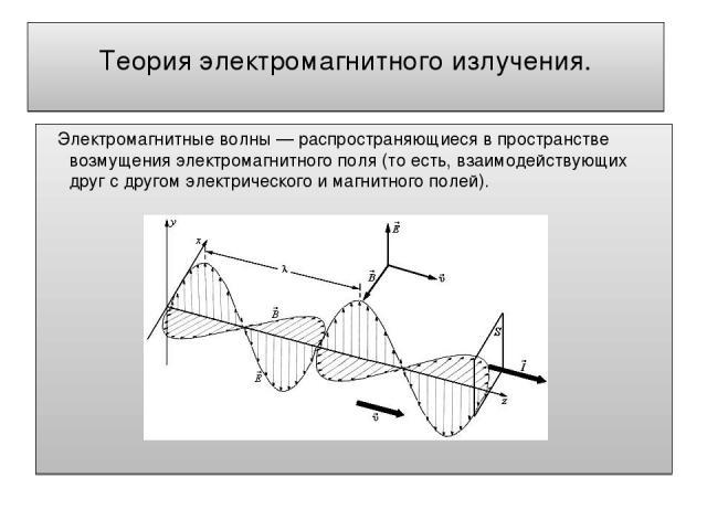 Теория электромагнитного излучения. Электромагнитные волны — распространяющиеся в пространстве возмущения электромагнитного поля (то есть, взаимодействующих друг с другом электрического и магнитного полей).