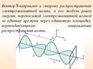 Вектор направлен в сторону распространения электромагнитной волны, а его модуль