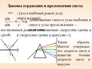 постоянная равная отношению скорости света в среде Законы отражения и преломлени