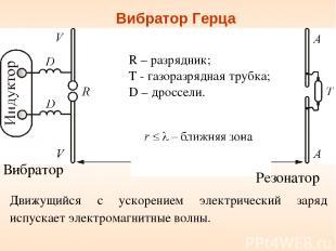 Вибратор Герца Вибратор R – разрядник; Т - газоразрядная трубка; D – дроссели. Р