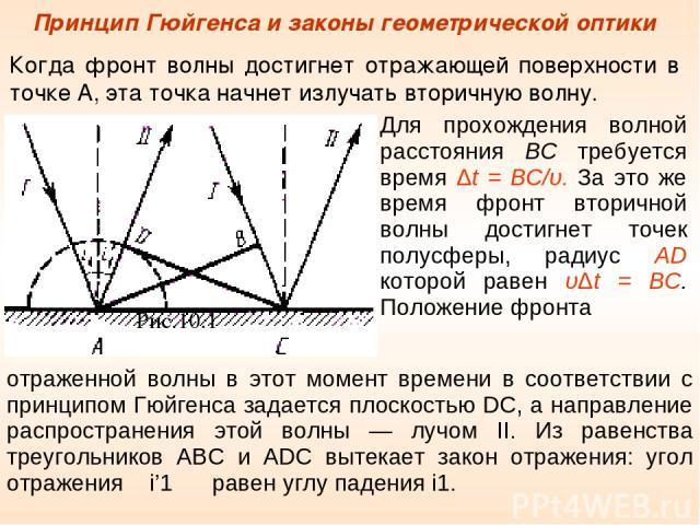 Принцип Гюйгенса и законы геометрической оптики Когда фронт волны достигнет отражающей поверхности в точке А, эта точка начнет излучать вторичную волну. Рис.10.1 Для прохождения волной расстояния ВС требуется время Δt = BC/υ. За это же время фронт в…