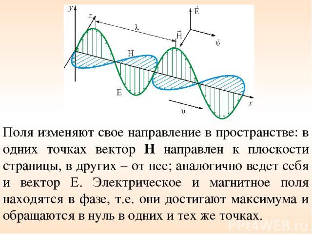 Поля изменяют свое направление в пространстве: в одних точках вектор Н направлен к плоскости страницы, в других – от нее; аналогично ведет себя и вектор Е. Электрическое и магнитное поля находятся в фазе, т.е. они достигают максимума и обращаются в …