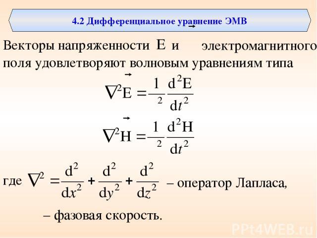 4.2 Дифференциальное уравнение ЭМВ Векторы напряженности и поля удовлетворяют волновым уравнениям типа электромагнитного где – оператор Лапласа, υ – фазовая скорость.
