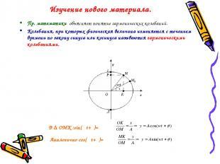 Изучение нового материала. Пр. математики объясняет понятие гармонических колеба