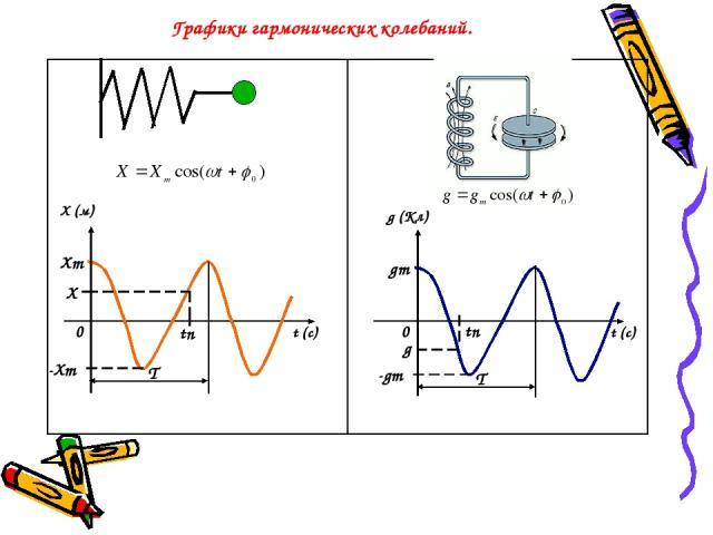 Графики гармонических колебаний. Х (м) t (c) g (Кл) t (c) Хm -Хm 0 0 tn Х tn gm -gm g Т Т
