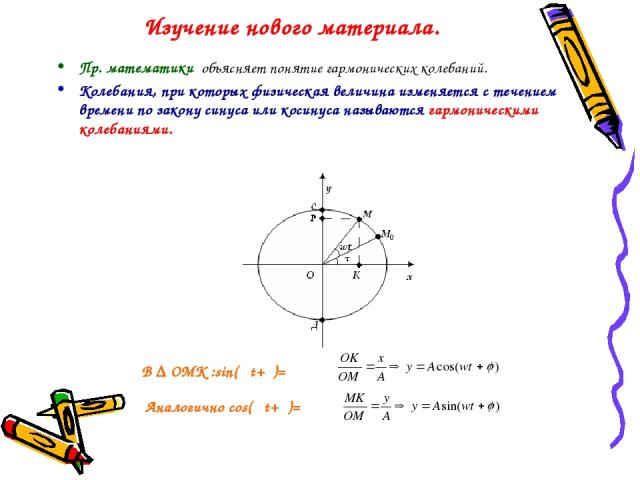Изучение нового материала. Пр. математики объясняет понятие гармонических колебаний. Колебания, при которых физическая величина изменяется с течением времени по закону синуса или косинуса называются гармоническими колебаниями. В ∆ ОМК :sin(ωt+φ)= Ан…
