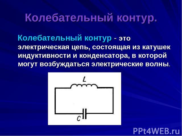 Колебательный контур. Колебательный контур - это электрическая цепь, состоящая из катушек индуктивности и конденсатора, в которой могут возбуждаться электрические волны.