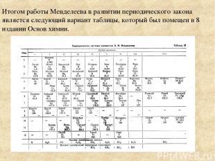 Итогом работы Менделеева в развитии периодического закона является следующий вар