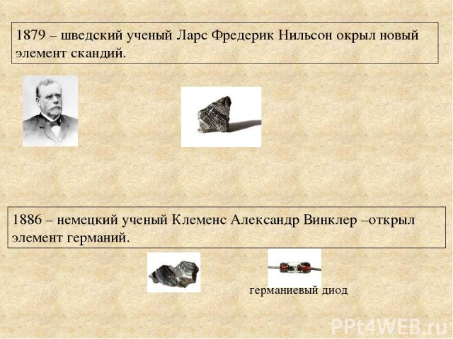 1879 – шведский ученый Ларс Фредерик Нильсон окрыл новый элемент скандий. 1886 – немецкий ученый Клеменс Александр Винклер –открыл элемент германий. германиевый диод