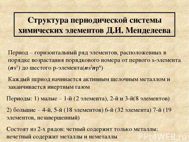 Структура периодической системы химических элементов Д.И. Менделеева Период – горизонтальный ряд элементов, расположенных в порядке возрастания порядкового номера от первого s-элемента (ns1) до шестого p-элемента(ns2np6) Каждый период начинается акт…