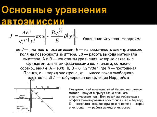 Основные уравнения автоэмиссии