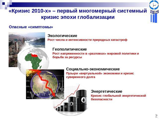 «Кризис 2010-х» – первый многомерный системный кризис эпохи глобализации Социально-экономические Пузыри «виртуальной» экономики и кризис суверенного долга Геополитические Рост напряженности в «разломах» мировой политики и борьба за ресурсы Энергетич…