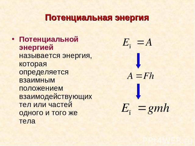 Потенциальная энергия Потенциальной энергией называется энергия, которая определяется взаимным положением взаимодействующих тел или частей одного и того же тела