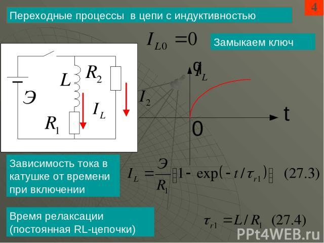 4 Переходные процессы в цепи с индуктивностью Замыкаем ключ Зависимость тока в катушке от времени при включении Время релаксации (постоянная RL-цепочки)
