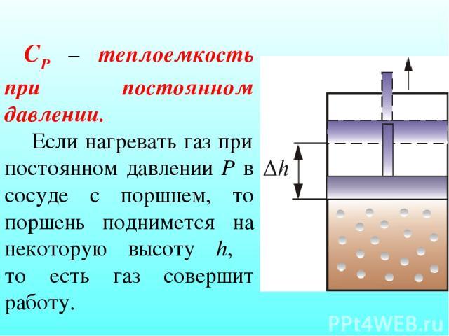 СР – теплоемкость при постоянном давлении. Если нагревать газ при постоянном давлении Р в сосуде с поршнем, то поршень поднимется на некоторую высоту h, то есть газ совершит работу.