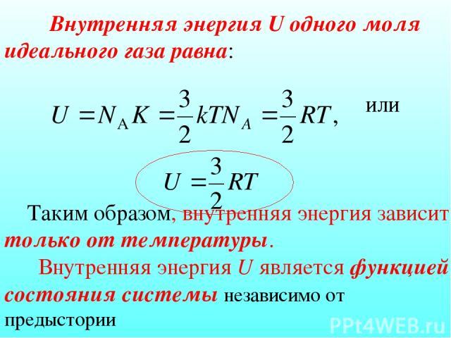 Внутренняя энергия U одного моля идеального газа равна: или Таким образом, внутренняя энергия зависит только от температуры. Внутренняя энергия U является функцией состояния системы независимо от предыстории