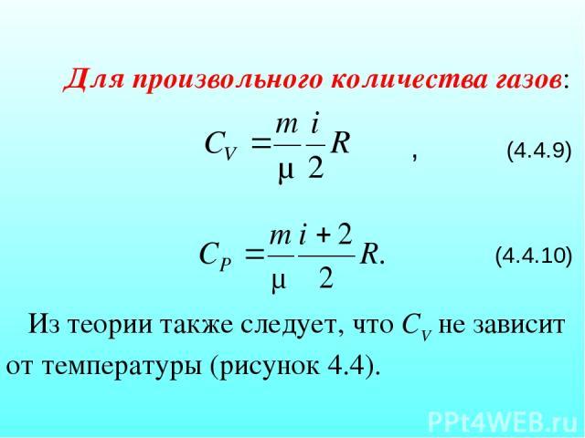Для произвольного количества газов: , (4.4.9) (4.4.10) Из теории также следует, что СV не зависит от температуры (рисунок 4.4).