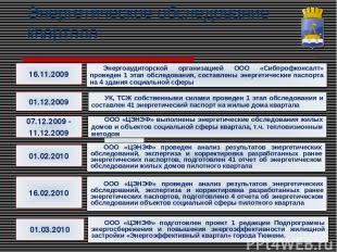 Энергетическое обследование квартала 16.11.2009 Энергоаудиторской организацией О