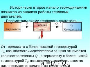Исторически второе начало термодинамики возникло из анализа работы тепловых двиг