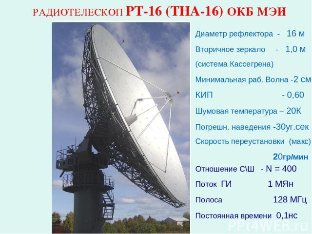 РАДИОТЕЛЕСКОП РТ-16 (ТНА-16) ОКБ МЭИ Диаметр рефлектора - 16 м Вторичное зеркало - 1,0 м (система Кассегрена) Минимальная раб. Волна -2 см КИП - 0,60 Шумовая температура – 20К Погрешн. наведения -30уг.сек Скорость переустановки (макс) 20гр/мин Отнош…