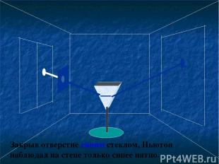 Закрыв отверстие синим стеклом, Ньютон наблюдал на стене только синее пятно.