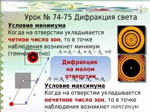 Урок № 74-75 Дифракция света Условие минимума Когда на отверстии укладывается че