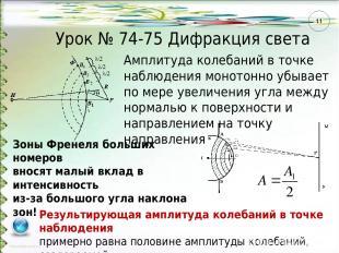 Урок № 74-75 Дифракция света Амплитуда колебаний в точке наблюдения монотонно уб