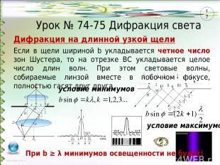 Урок № 74-75 Дифракция света Если в щели шириной b укладывается четное число зон