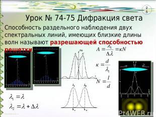 Способность раздельного наблюдения двух спектральных линий, имеющих близкие длин