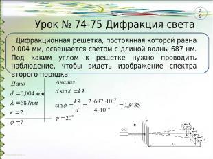 Урок № 74-75 Дифракция света Дифракционная решетка, постоянная которой равна 0,0