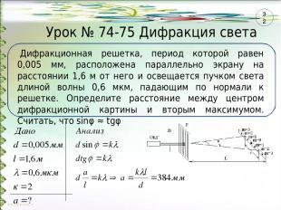 Урок № 74-75 Дифракция света Дифракционная решетка, период которой равен 0,005 м