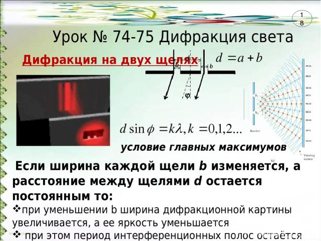 Урок № 74-75 Дифракция света Дифракция на двух щелях Если ширина каждой щели b изменяется, а расстояние между щелями d остается постоянным то: при уменьшении b ширина дифракционной картины увеличивается, а ее яркость уменьшается при этом период инте…