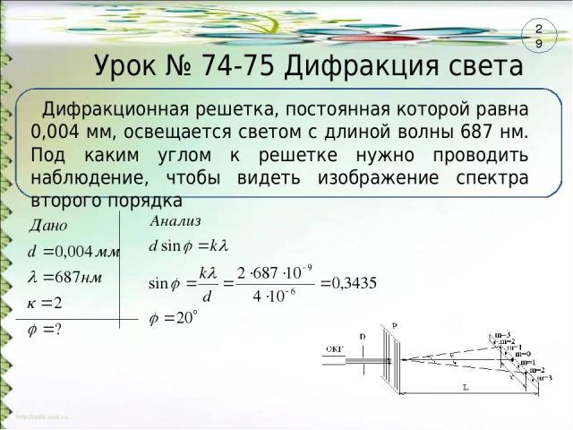 Урок № 74-75 Дифракция света Дифракционная решетка, постоянная которой равна 0,004 мм, освещается светом с длиной волны 687 нм. Под каким углом к решетке нужно проводить наблюдение, чтобы видеть изображение спектра второго порядка 29