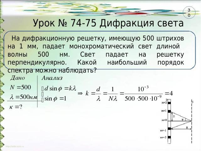 Урок № 74-75 Дифракция света На дифракционную решетку, имеющую 500 штрихов на 1 мм, падает монохроматический свет длиной волны 500 нм. Свет падает на решетку перпендикулярно. Какой наибольший порядок спектра можно наблюдать? 30