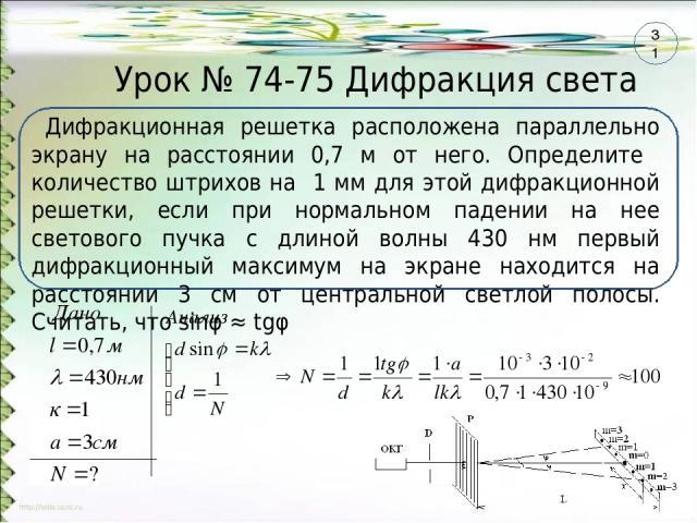 Урок № 74-75 Дифракция света Дифракционная решетка расположена параллельно экрану на расстоянии 0,7 м от него. Определите количество штрихов на 1 мм для этой дифракционной решетки, если при нормальном падении на нее светового пучка с длиной волны 43…