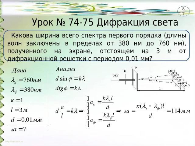Урок № 74-75 Дифракция света Какова ширина всего спектра первого порядка (длины волн заключены в пределах от 380 нм до 760 нм), полученного на экране, отстоящем на 3 м от дифракционной решетки с периодом 0,01 мм? 37