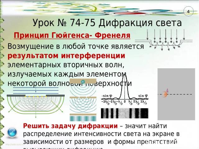 Принцип Гюйгенса- Френеля Возмущение в любой точке является результатом интерференции элементарных вторичных волн, излучаемых каждым элементом некоторой волновой поверхности Решить задачу дифракции – значит найти распределение интенсивности света на…