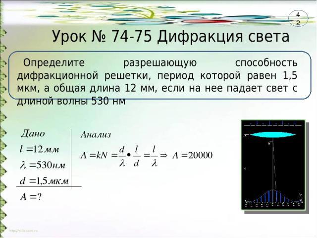 Урок № 74-75 Дифракция света Определите разрешающую способность дифракционной решетки, период которой равен 1,5 мкм, а общая длина 12 мм, если на нее падает свет с длиной волны 530 нм 42