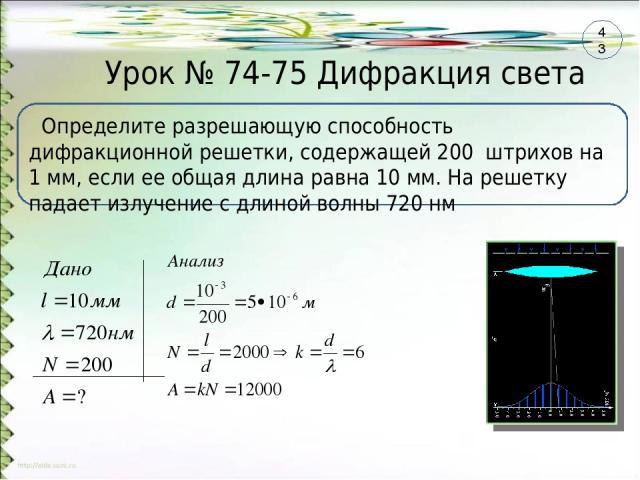 Урок № 74-75 Дифракция света Определите разрешающую способность дифракционной решетки, содержащей 200 штрихов на 1 мм, если ее общая длина равна 10 мм. На решетку падает излучение с длиной волны 720 нм 43