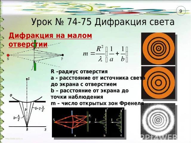Урок № 74-75 Дифракция света Дифракция на малом отверстии R –радиус отверстия а - расстояние от источника света до экрана с отверстием b – расстояние от экрана до точки наблюдения m – число открытых зон Френеля 9