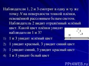 Наблюдатели 1, 2 и 3 смотрят в одну и ту же точку N на поверхности тонкой плёнки