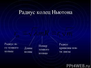 Радиус колец Ньютона Радиус m-го темного кольца Длина волны Радиус кривизны пов-