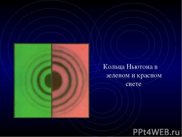 Кольца Ньютона в зеленом и красном свете.