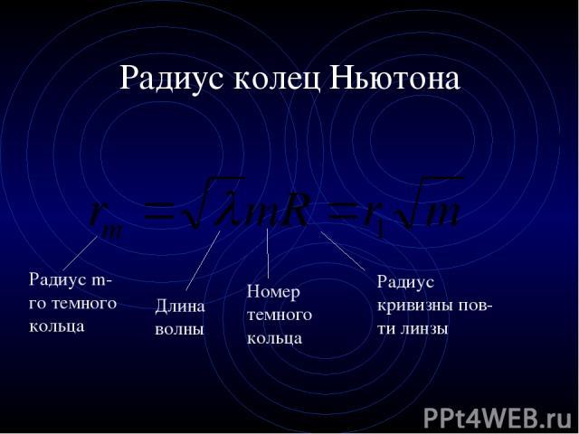 Радиус колец Ньютона Радиус m-го темного кольца Длина волны Радиус кривизны пов-ти линзы Номер темного кольца