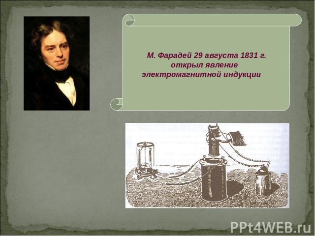 М. Фарадей 29 августа 1831 г. открыл явление электромагнитной индукции