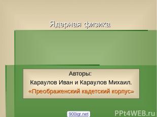 Авторы: Караулов Иван и Караулов Михаил. «Преображенский кадетский корпус» 900ig