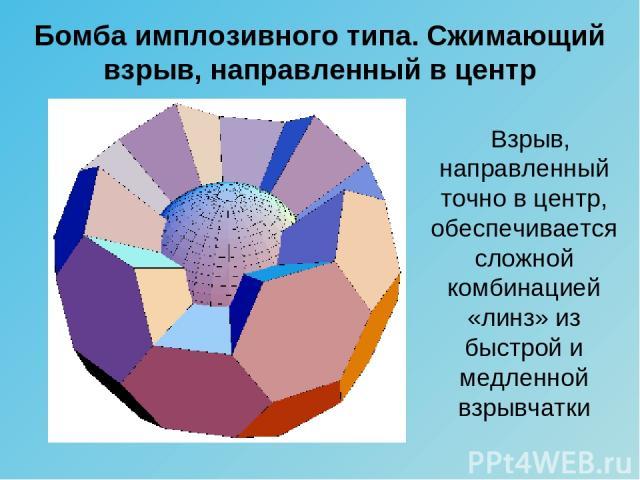 Бомба имплозивного типа. Сжимающий взрыв, направленный в центр Взрыв, направленный точно в центр, обеспечивается сложной комбинацией «линз» из быстрой и медленной взрывчатки